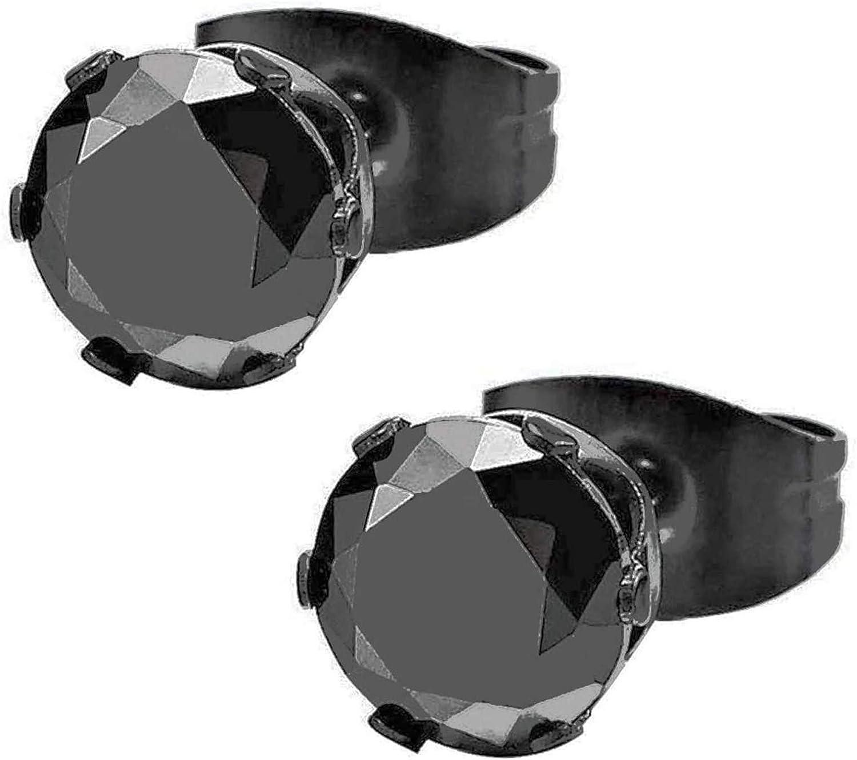 3-8MM Negro Circonita, Negro Pendientes de Hombre de Mujer, Aretes, Acero Inoxidable, 1 Par(Tamaño de La Piedra: 6mm)