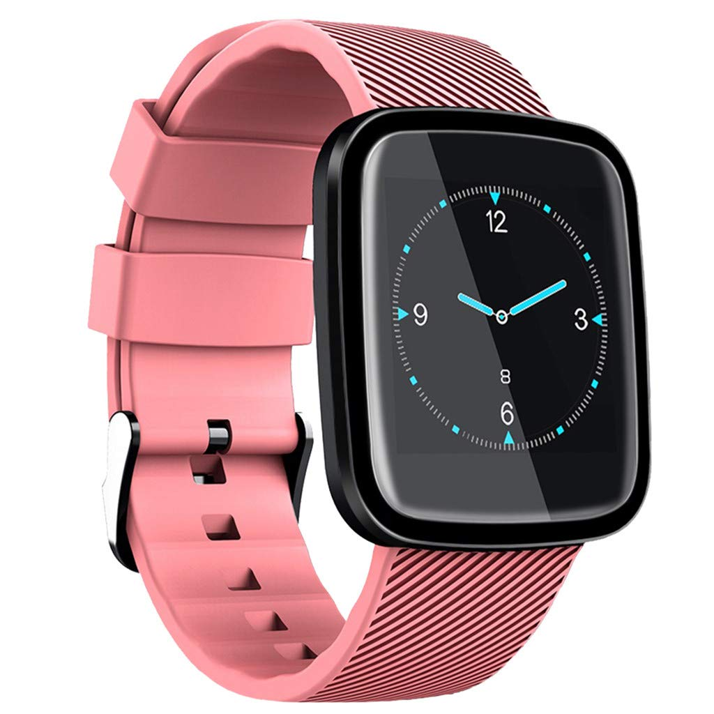 JDgoods Smart Fitness Watch, Color Screen Sport Health Tracker, Activity Tracker with Heart Rate Blood Pressure Calories Pedometer Sleep Monitor Call/SMS Remind for Smartphones Gift (Pink)