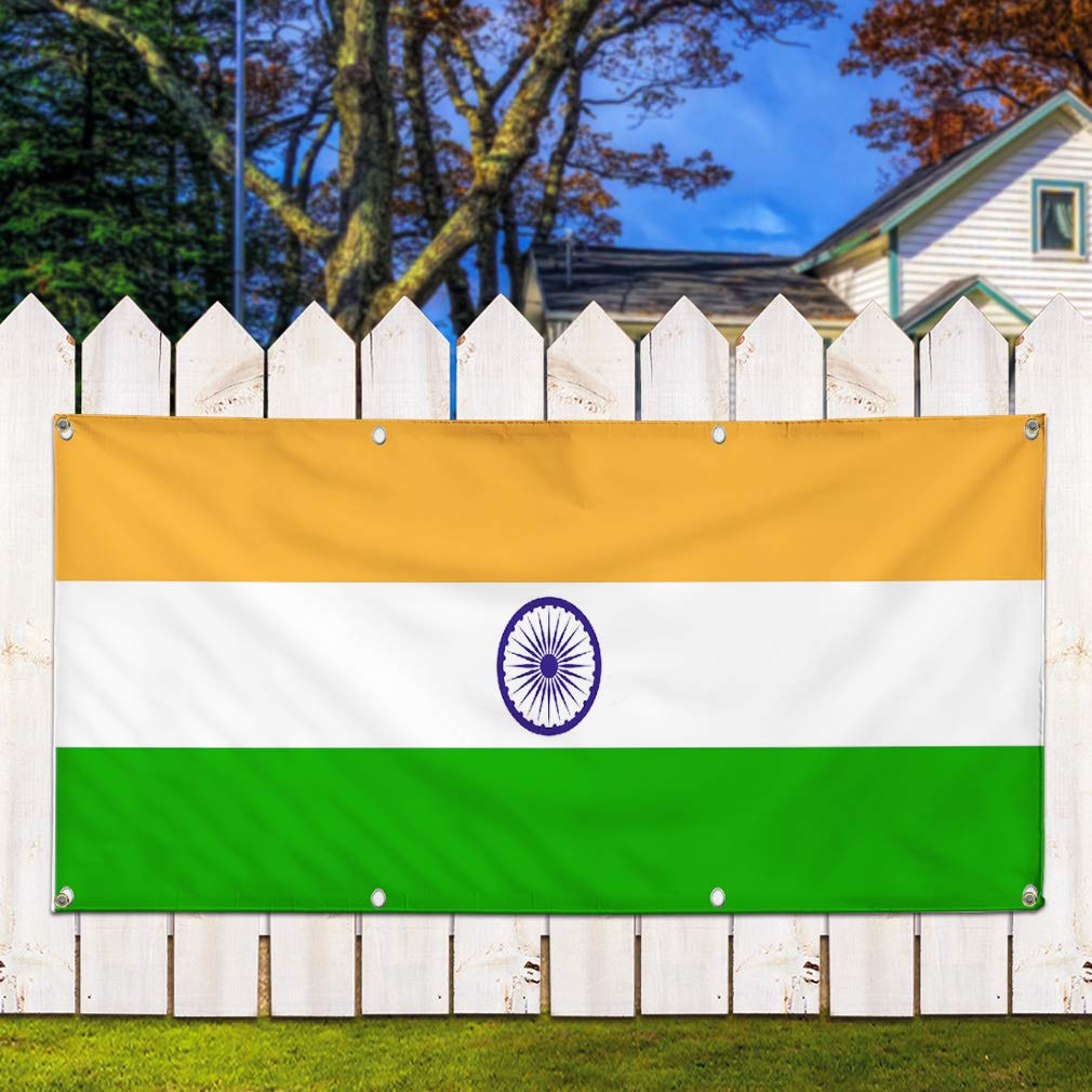 44inx110in One Banner Multiple Sizes Available 8 Grommets Vinyl Banner Sign India Flag Orange White Green Countries Marketing Advertising Blue