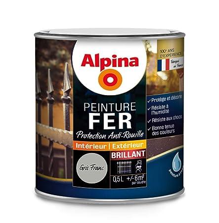 Alpina Peinture Fer Antirouille Brillant Noir Mat 05l 6m² Amazon