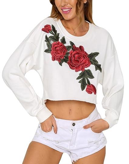 Minetom Otoño Bordado Rosas Flojas Manga Larga Blusa Tapas Mujeres Casual Suelto Blusa Elegante Camisas Atractivo