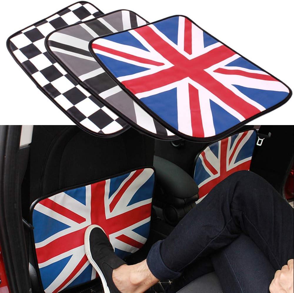 Gray Union Jack Universal 2Pcs//set Union Jack PU Car Auto Seat Back Cover Anti-kick Anti Dirty Pads Mat for Mini Cooper JCW One Car Accessories