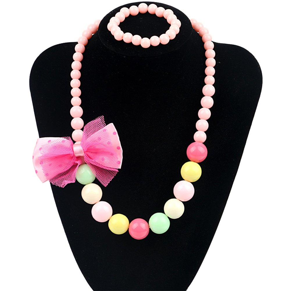 5 Colors Kids Necklace Bracelet Jewelry Set Cute Lace Colorful Bead Bowknot For Little Girls Children Unijew A143pink