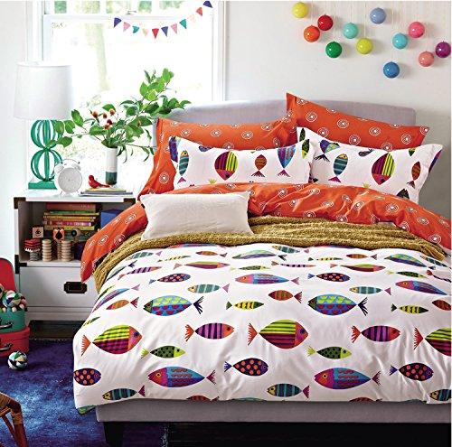 Cliab Ocean Fish Bedding Queen Bed Sheets 100% Cotton Duvet Cover Set 7 Pieces