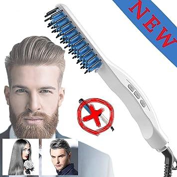Amazon.com: Peine alisador de barba, cepillo alisador de ...