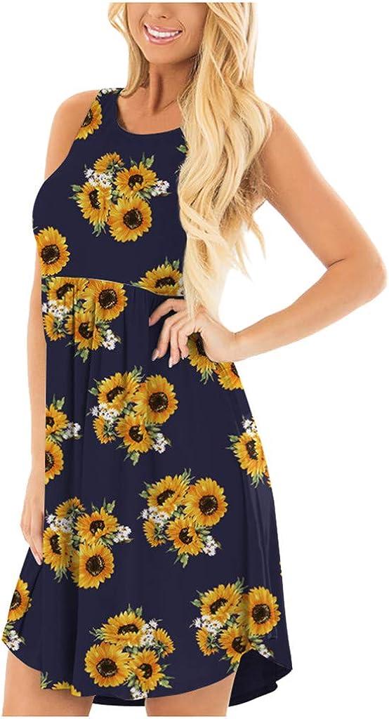 F/_Gotal Womens Dresses Summer Casual Sunflower Print Asymmetric Mini Strap Dress Beach Sundress Party Cocktail