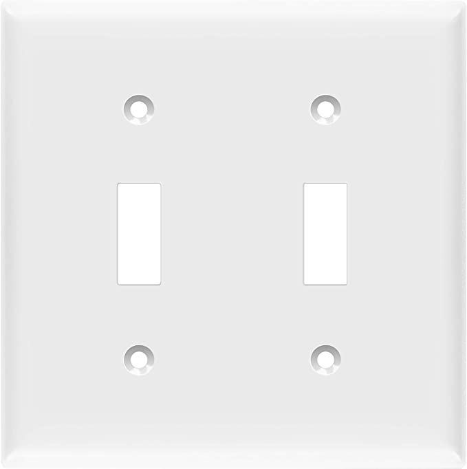 Enerlites Toggle Light Switch Wall Plate Size 2 Gang 4 50 X 4 57 Double Switch Cover Unbreakable Polycarbonate Thermoplastic 8812 W White Amazon Com Home Improvement