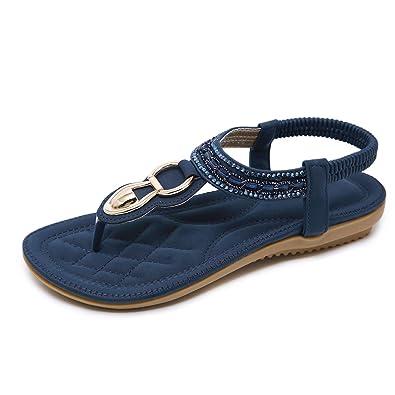 a1bdc9901 Amazon.com | CARETOO Ladies Bohemia Flat Sandals, Women Summer Beach  T-Strap Flip Flop Sparkling Rhinestone Walking Shoes Casual | Flats