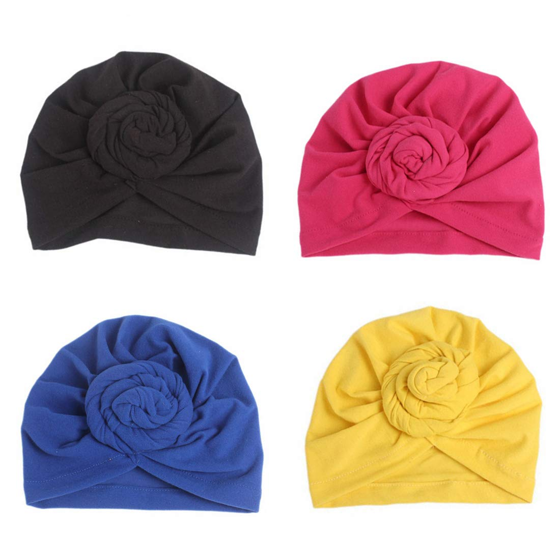 1Pack/2Packs/4Packs Women Turban African Pattern Knot Headwrap Beanie Pre-Tied Bonnet Chemo Cap Hair Loss Hat by BOBIBI