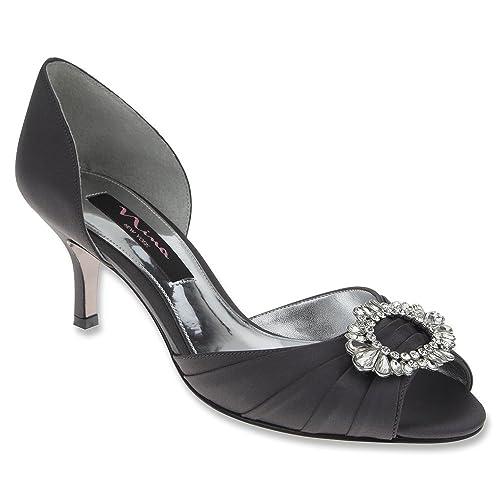 Nina Crystah Women US 5.5 Gray Open Toe Heels