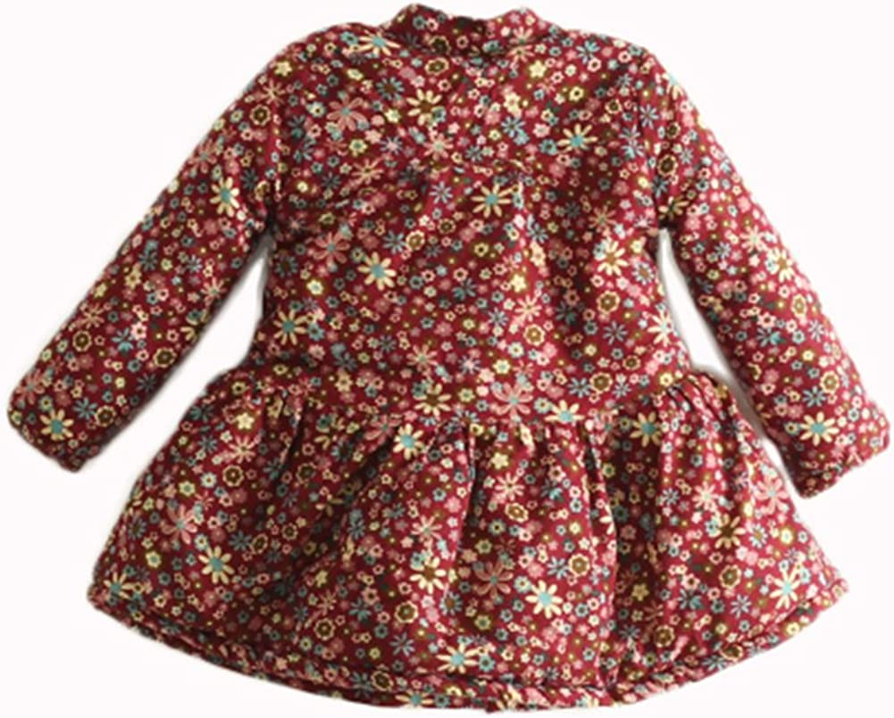 LittleWardrob Baby Girls Cotton Padded Fleece Lined Printed Flowers Coat Dress Polo Neck