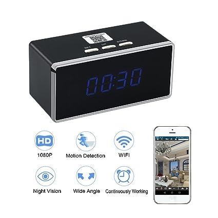 Camara Espia WIFI Despertador HD 1080P TANGMI Cámara de Niñera P2P Inalámbrica Cámara de Seguridad Detección