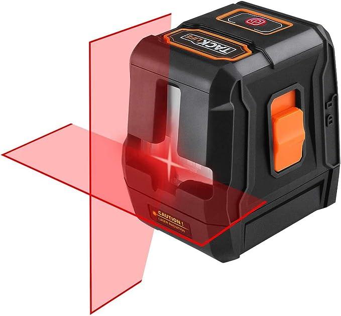 """Tacklife SC-L01 Laser Croix Rotatif Support Magn/étique IP54 Anti-/éclaboussure Trou Filet/é 1//4/"""" Sac en toile Laser Rouge Brillant Niveau Laser Autonivelant 15m Piles inclus Verrouillable"""