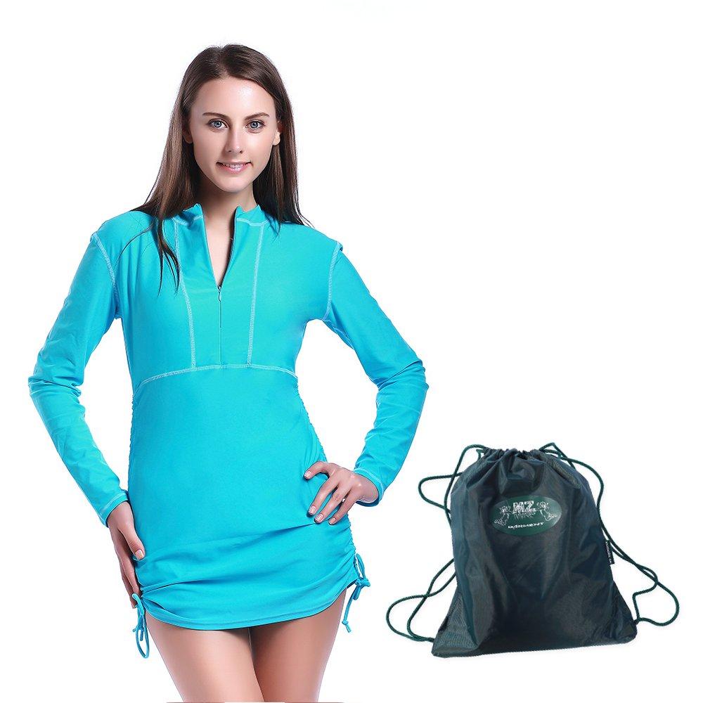 MZ Garment Rash Guard for Women - Rashguard Shirt Swimwear Long Sleeve Top Swimsuit UV Dive Skin Swim Shirt (901-blue, M)