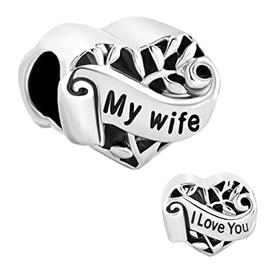a8db0f9aae09d New I Love You My Wife Heart Charms Sale Cheap Beads fit Pandora Chamilia  Charm Bracelets Gift