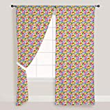 AZ Handprint Door & Window Curtain Satin 4feet x 7feet; SET OF 3 PCS