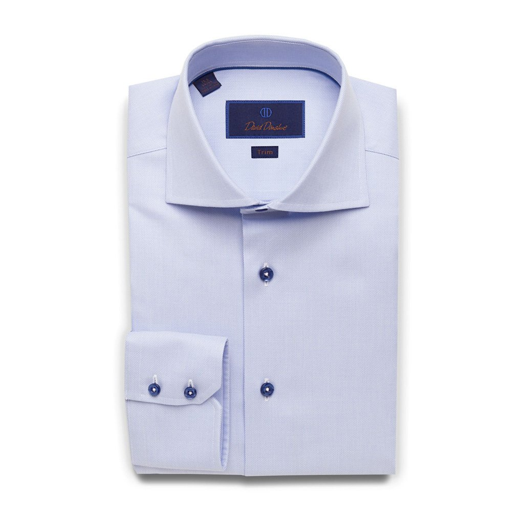 David Donahue Super Fine Cotton Barrel Cuff Trim Fit Dress Shirt 17'' Neck 32/33'' Sleeve, Sky Blue