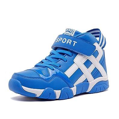 Unisex-Kinder Sneaker Basketballschuhe Klettverschluss Aufzug Abriebfest Rutschfest Sportlich Flexibel Mehrfarbrig Freizeit Kinderschuhe Himmelblau-Weiß 26 Ivgcdo