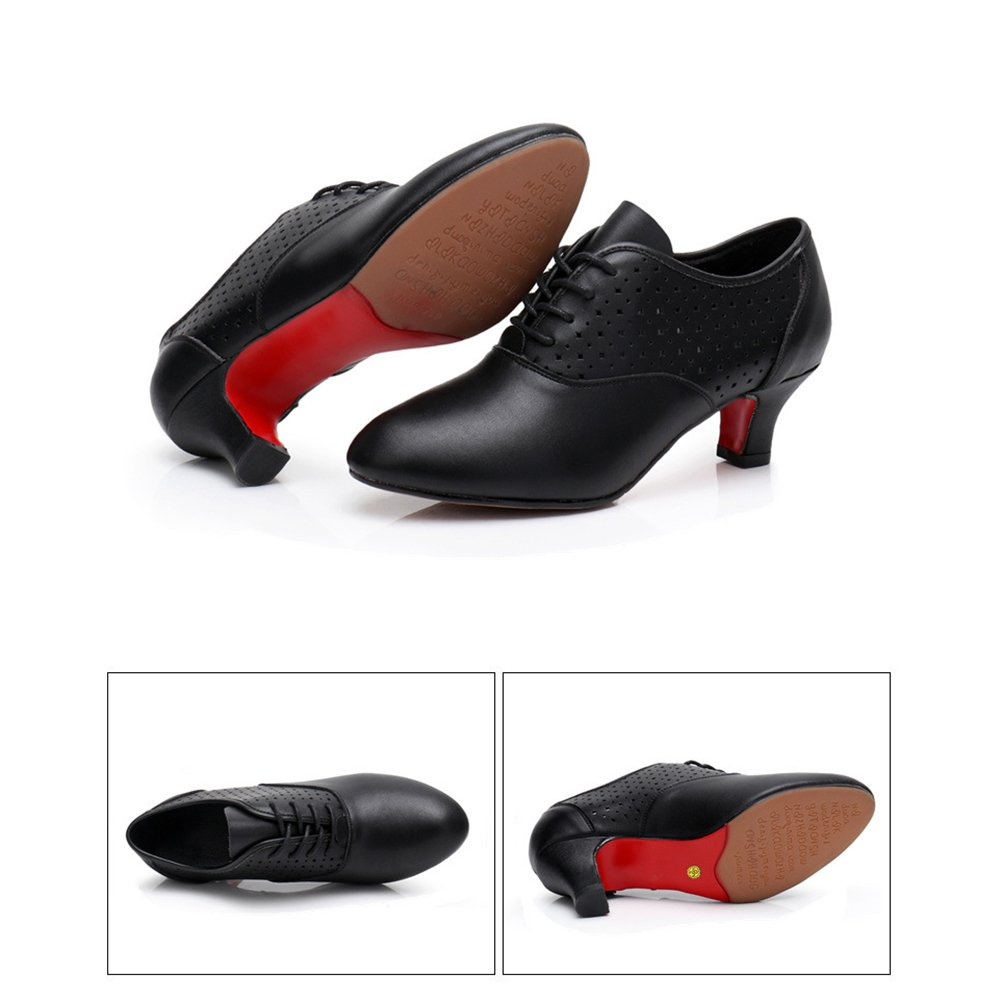XUEXUE Womens Modern Shoes//Ballroom Shoes Shiny//Leather Lace-up Shoes//Lightweight Summer//Breathable Sneakers//Oxford Non Customized Heel Customizable Dance Shoes Black Red Color : B, Size : 36