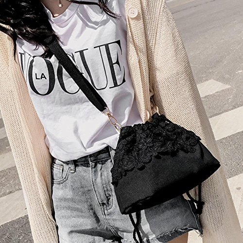Powlance Canvas Handbags Women Black Small Bags Crossbody Shoulder Bucket Messenger Lace w7fqP