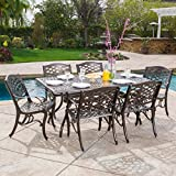 Great Deal Furniture | Odena | 7-Piece Outdoor Rectangular Dining Set | Cast Aluminum | with Hammered Bronze Finish For Sale