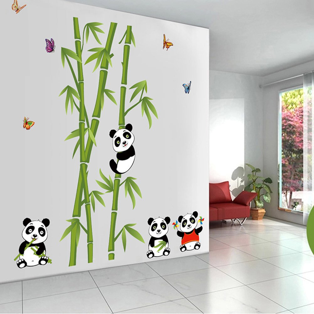 Enfants B/éb/é Chambre P/épini/ère DIY D/écoratif Adh/ésif Stickers Mural Wallpark Mignon Pandas Bambou Papillons Amovible Stickers Muraux Autocollants