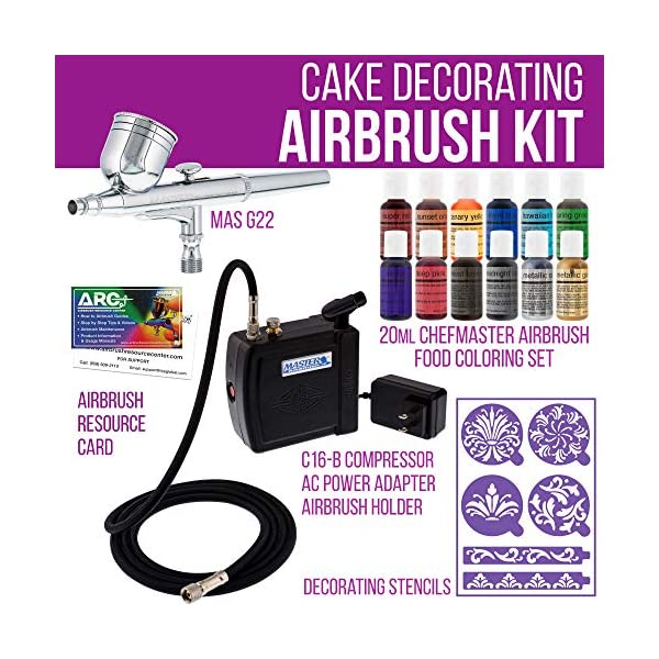 Master-Airbrush-Cake-Decorating-Airbrushing-System-Kit-with-a-Set-of-12-Chefmaster-Food-Colors-Gravity-Feed-Dual-Action-Airbrush-Air-Compressor-Wilton-Stencils-and-How-to-Airbrush-ARC-Link-Card