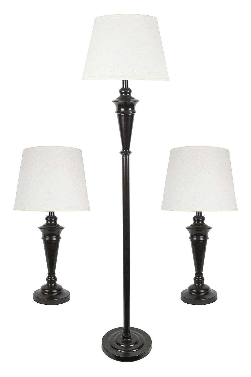 Urbanest Peterson Set of 3 Table and Floor Lamps, Oil-rubbed Bronze with Cream Linen Shades