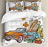 Vintage Hawaii Queen Size Duvet Cover Set by Lunarable, Old School Car with Surfboards on Its Truck Freedom Sixties Inspired Image, Decorative 3 Piece Bedding Set with 2 Pillow Shams, Multicolor
