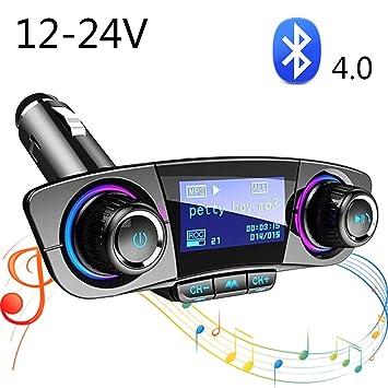 SHENGY Cargador Bluetooth para automóvil, transmisor de 12V ...