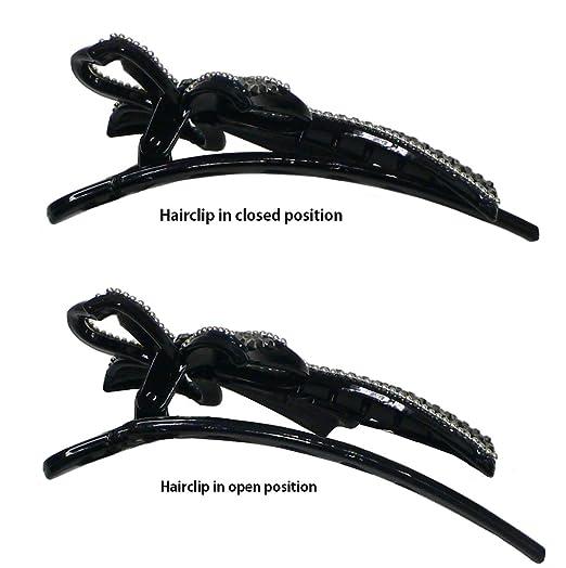 Lite Weight Hair Fork Clip Sparkling Stones Black Trim OD86603-8987
