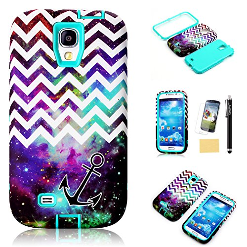 S4 Case, Galaxy S4 Case, GoodPro™ Powerful Protection [3IN1 Space Wave Design] (Green), Hybrid Hard Soft Durable Bumper Case Armor Case Back Cover Case for Samsung Galaxy S4, Included (Screen Protector, Stylus and Cleaning Cloth), Samsung Galaxy S4 Case