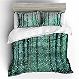 BOMCOM 3D Digital Printing Abstract Oil Painting Artistic Creation Expressionism 3-Piece Duvet Cover Sets 100% Microfiber Blue Green(california king, Wood in Backyard)