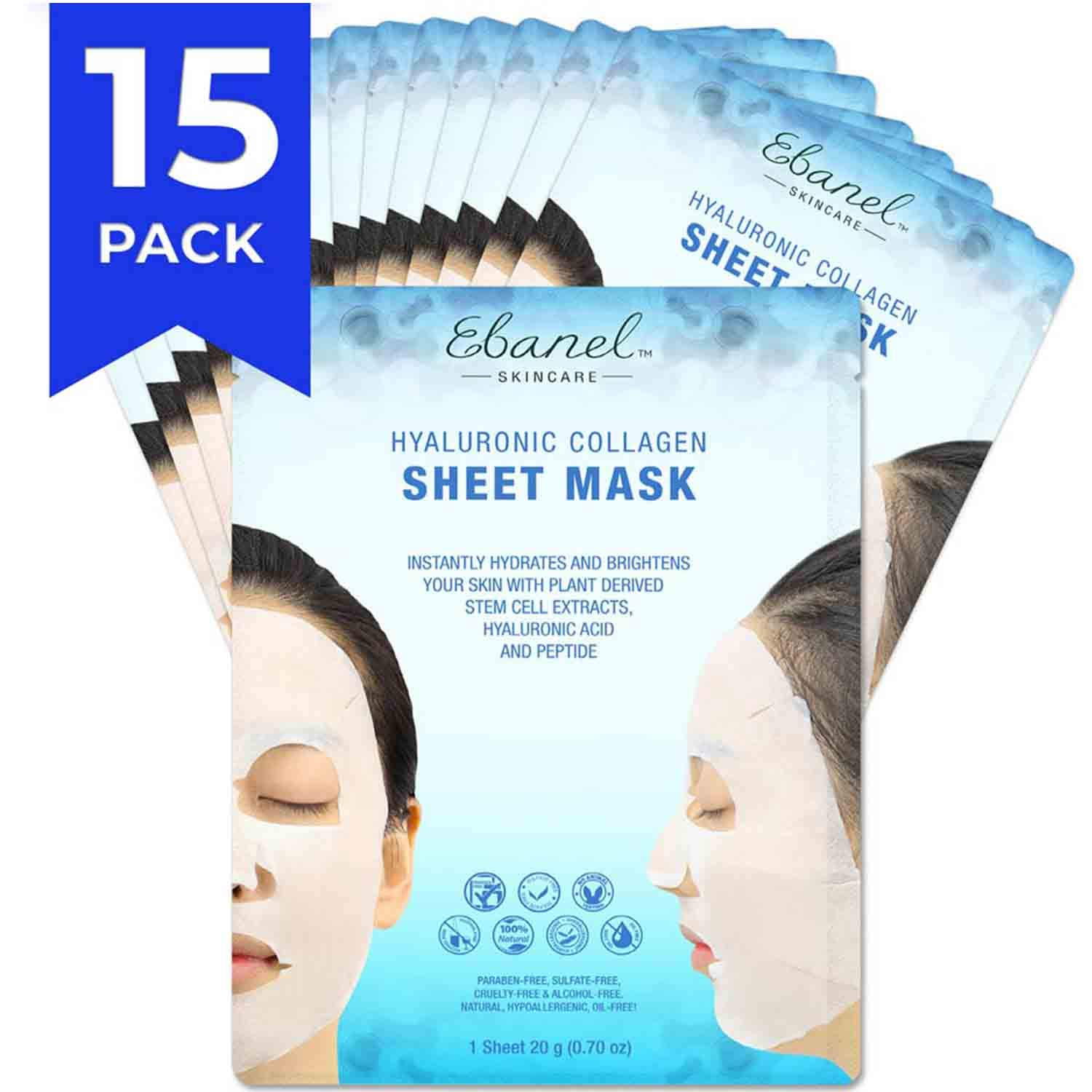 Ebanel Korean Collagen Facial Face Mask Sheet, 15 Pack, Instant Brightening and Hydrating, Deep Moisturizing with Hyaluronic Acid Face Masks, Anti-Aging Anti-Wrinkle with Stem Cell Extracts, Peptide