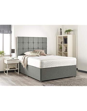 42abbaaed5a Bed Centre Silver Linen Memory Foam Divan Bed Set With Mattress