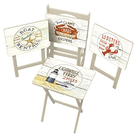 Cape Craftsman TV Tray Set With Stand, Nautical, Set Of 4