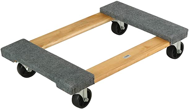 Amazon Com Hardwood Mover Dolly Carpeted Deck Ends 4 Rubber Swiveable Casters Furniture Appliance 30 X 18 1200 Lbs Capacity Brown Home Improvement