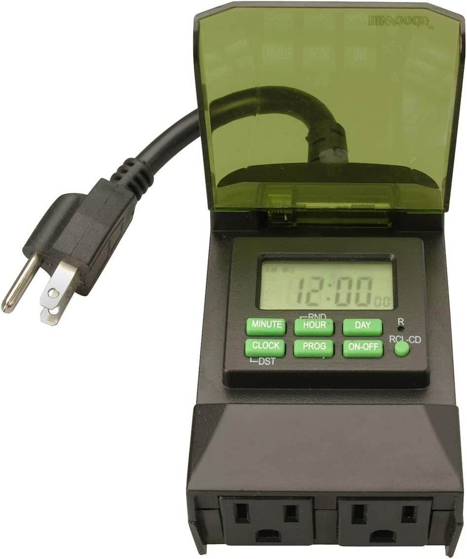 Woods 50014WD Outdoor 7-Day Digital Plug-In Timer, 2 Grounded Outlets