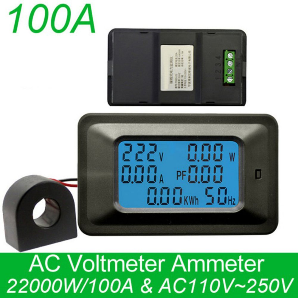 KKmoon 100A Digital Voltage Meter Energy Meter LCD 5KW Power Factor Energy Frequency Meters Voltmeter Ammeter Current Amps Watt Meter Tester Detector Indicator