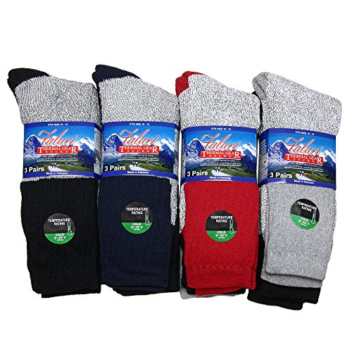 12 Pairs Winter Extreme Warm Boot Socks Thermal Socks Fits Size 10-15 Assorted Colors -