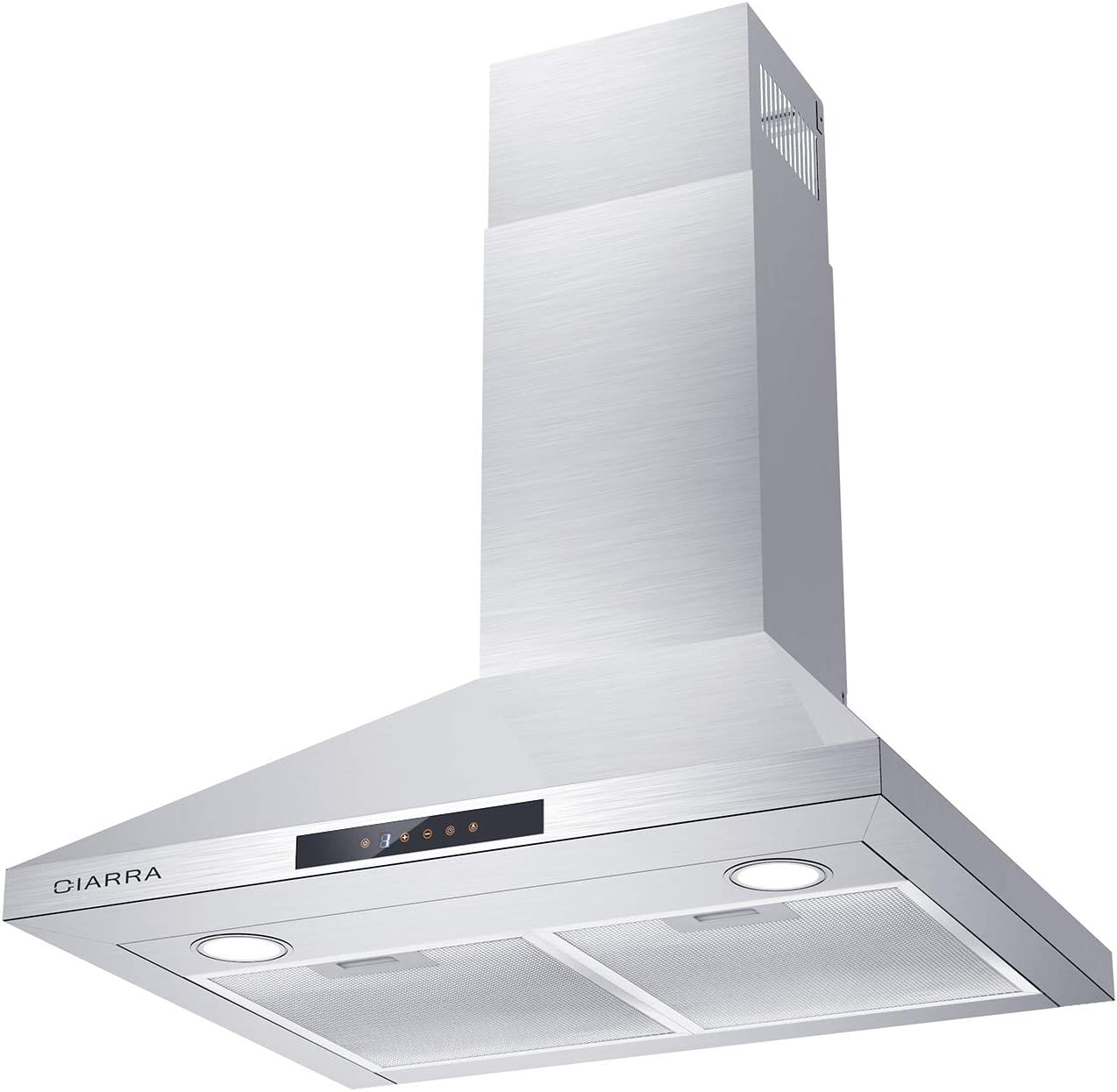 Ciarra Cas75206 30 Inch 450 Cfm Stainless Steel Wall Mount Range Hood, Ducted/Ductless Convertible Stove Vent Hood With Permanent Filters & 3 Speed Exhaust Fan