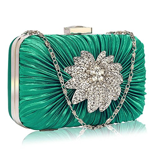 Sparkly Clutch Bag For Women Party Ladies Evening Handbag Brooch Box Designer Diamante Rouched With Chain Design 1 - Emerald