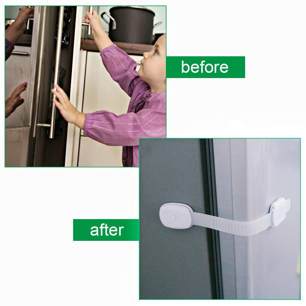 Rovtop 10 Pas Bloqueo de Seguridad para Bebés Ajustables Cierre de Seguridad para Armario Cajones y Puertas Pegajosos Cerraduras de Seguridad, con CE ...