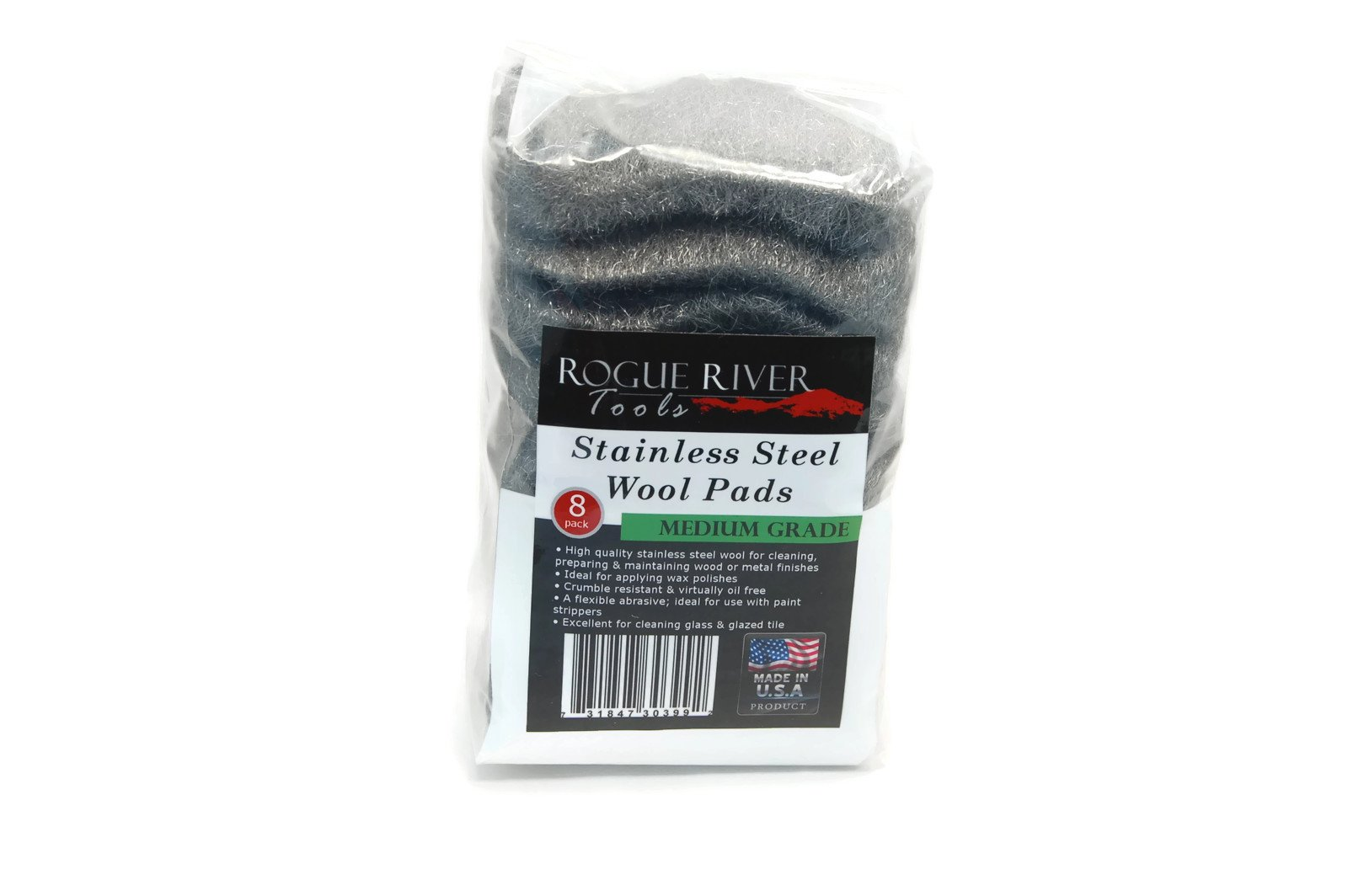 Stainless Steel Wool 8 Pad Pack (Medium) Oil Free Manufacturing - Made in USA!