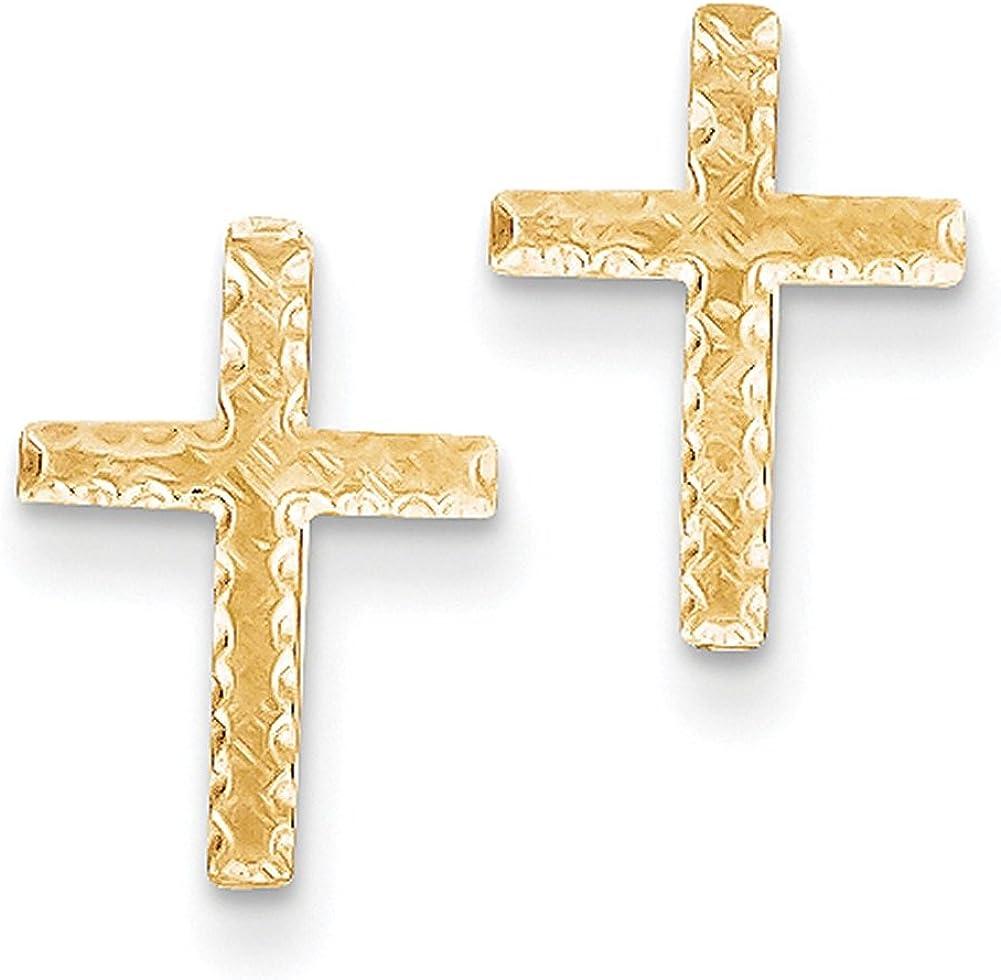 Lex /& Lu 14k Yellow Gold Brushed Finish Cross Earrings LAL80301