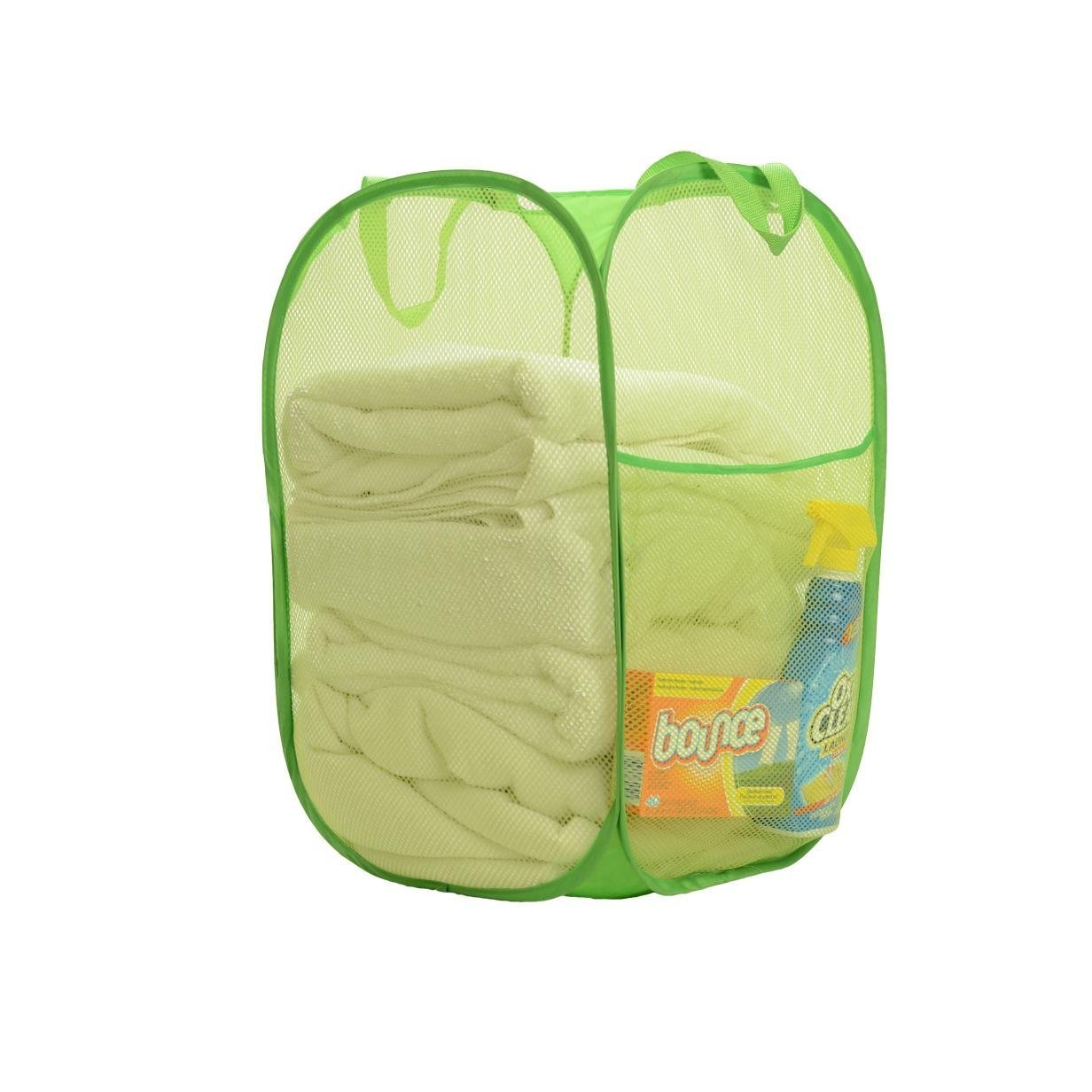 Folding Pop-up Portable Mesh Laundry Hamper With Handle, Space Saver, High Capacity, Heavy Duty, Slim and Super Lightweight Green