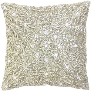 Light Pro Hand Beaded Decorative Pillow Cover 12 X12 Silver Handwoven Pillow Handmade By Skilled Artisans A Beautiful And Elegant Accessory To Dress Up Your Couch Sofa And Bed Only Cover Home Kitchen