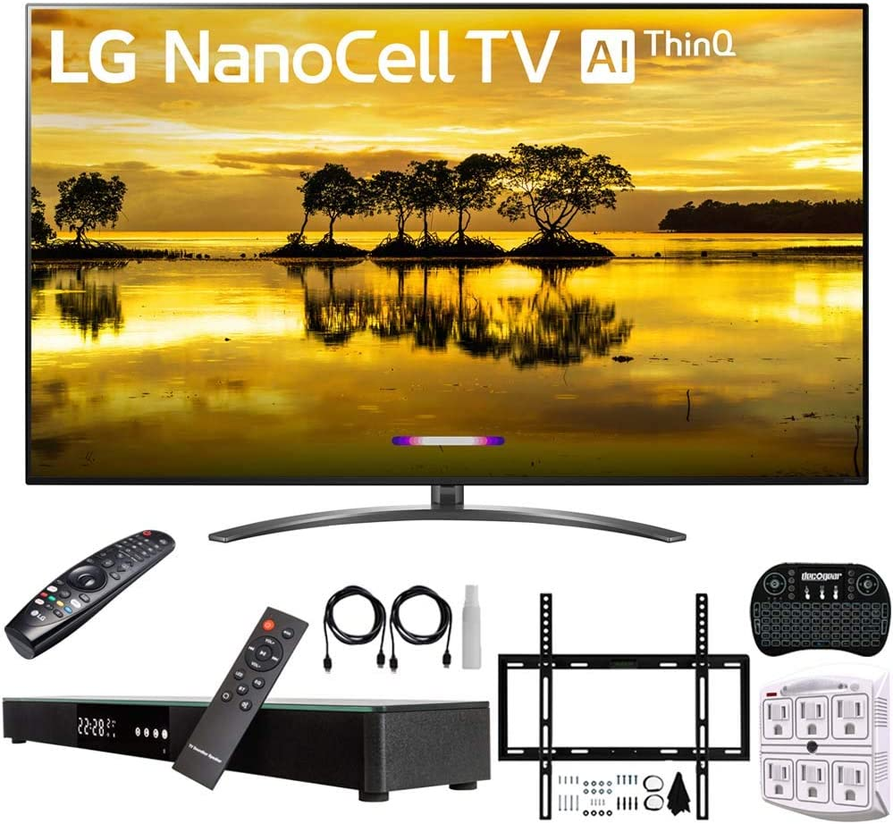 "LG 75SM9070PUA 75"" 4K HDR Smart LED Nanocell TV w/AI ThinQ (2019) + Deco Gear Home Theater Surround Sound 31"" Soundbar + Deco Mount Flat Wall Mount Kit + 2.4GHz Wireless Keyboard w/Touchpad + More"
