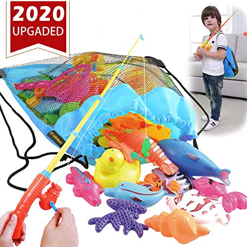 Carnival Fishing Game (CozyBomB Magnetic Fishing Game for Kids - Bath Pool Toys Set for Water Table Learning Education Fishin for Bathtub Fun with 4 Squeak Rubber Animal and Boat, Poles Rod Net)