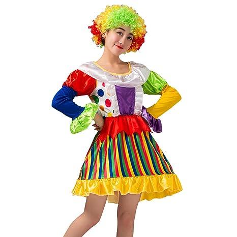 5db5301696 Costume pagliaccio donna OULII Set vestito da pagliaccio con parrucca